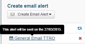 Create email alert-alertwillbesent