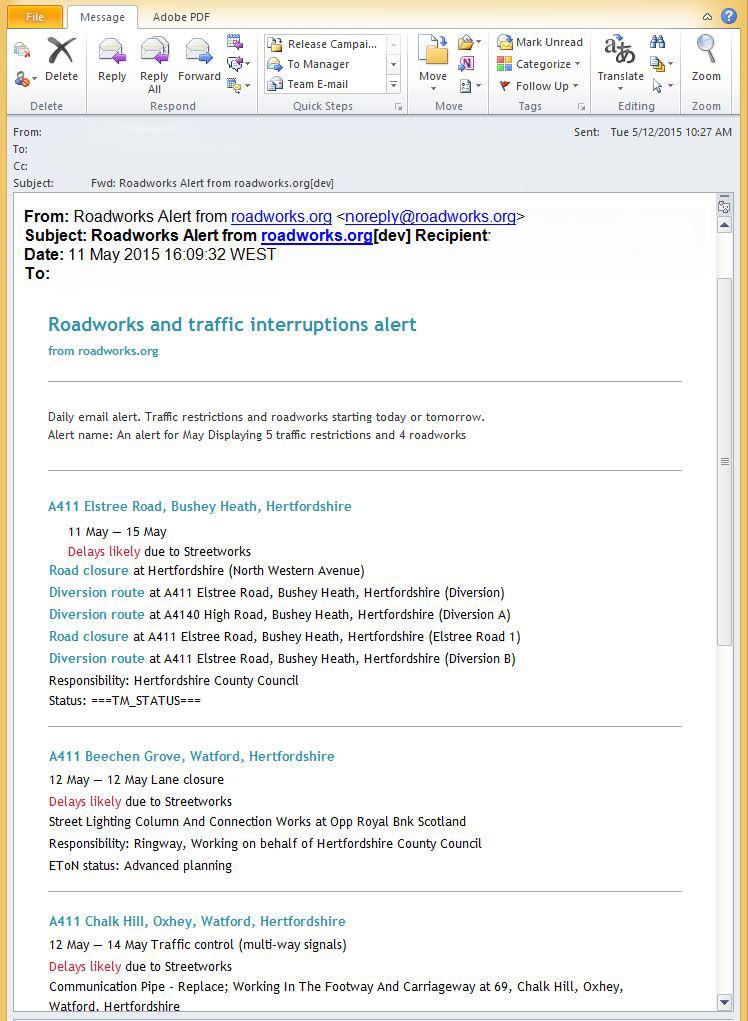 Email Alert Sample